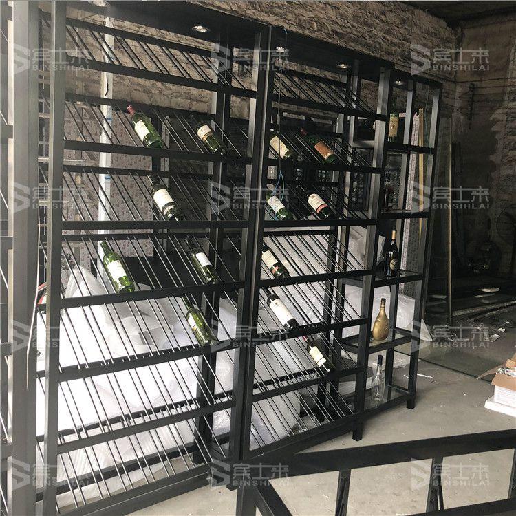 304不锈钢厂家直销拉丝黑钛酒架酒柜
