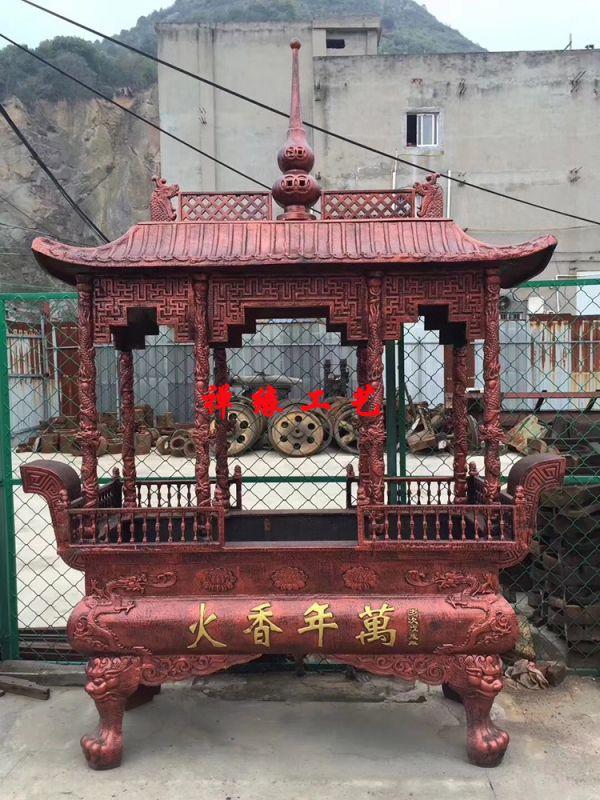 大型生铁铸造露天香炉,寺庙道观祠堂长方形八龙柱香炉