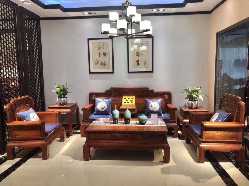 国标红木沙发刺猬紫檀客厅沙发组合6件套 名琢世家品牌