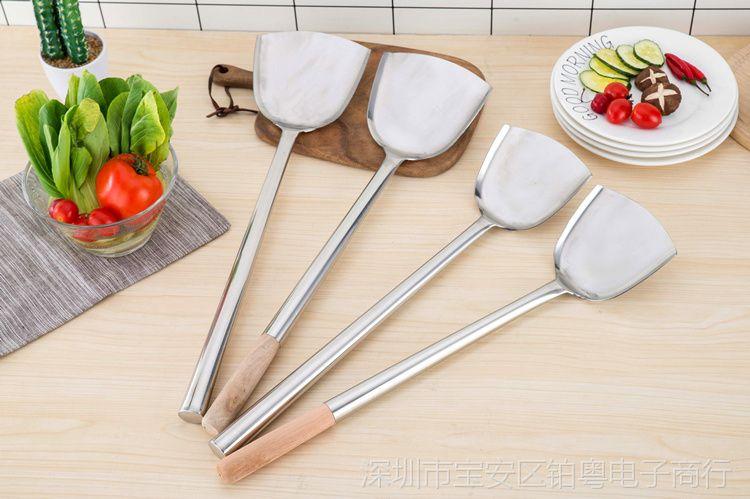 炒菜厨师无磁不锈钢家用视频马勺炒勺长柄加厚厨师响工图片