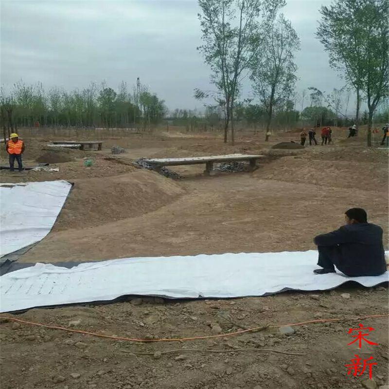 景观水渠防渗土工布铺设