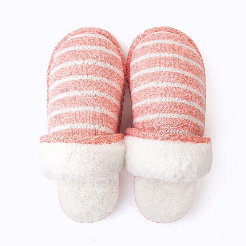 情侣居家冬天拖鞋男 家居室内厚底毛绒保暖地板棉拖鞋 PVC鞋底