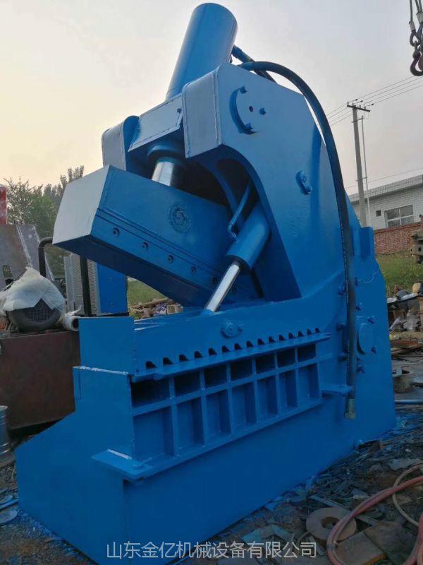 液压虎头剪切机500吨参数金亿新型龙门式剪切机视频废铁液压切断机操作简单效率高