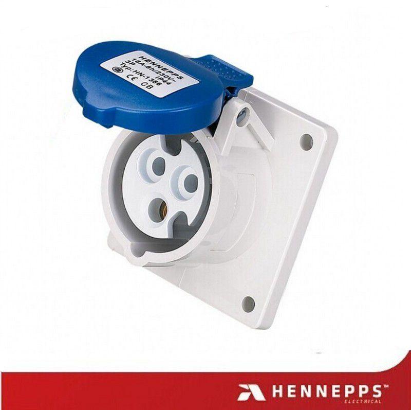汉奈工业插座 安装插座 三芯16A230V防护插座 防水防火防潮连接器