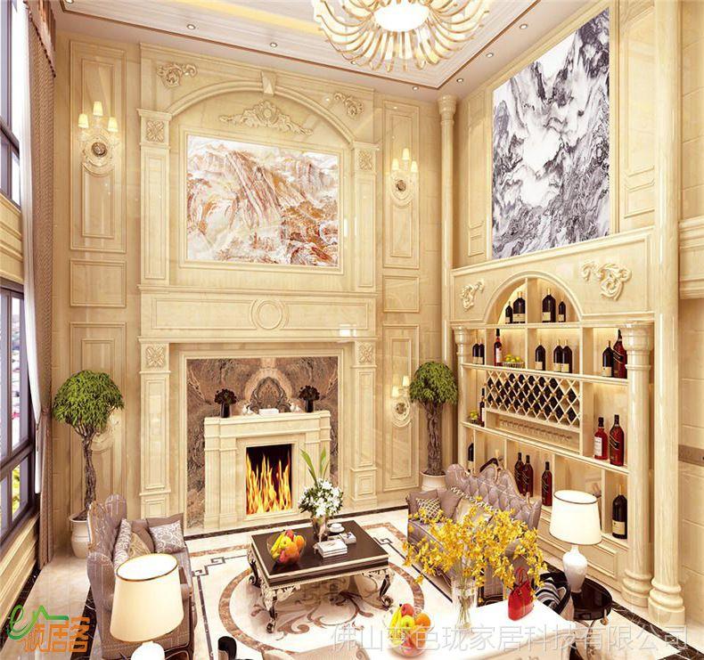 复式楼大理石石材罗马柱客厅电视背景墙瓷砖装饰微晶石影视墙边框