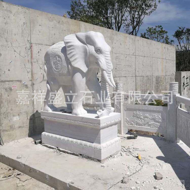 销售石雕大象 加工定做石雕大象 招财进宝石象 汉白玉大象