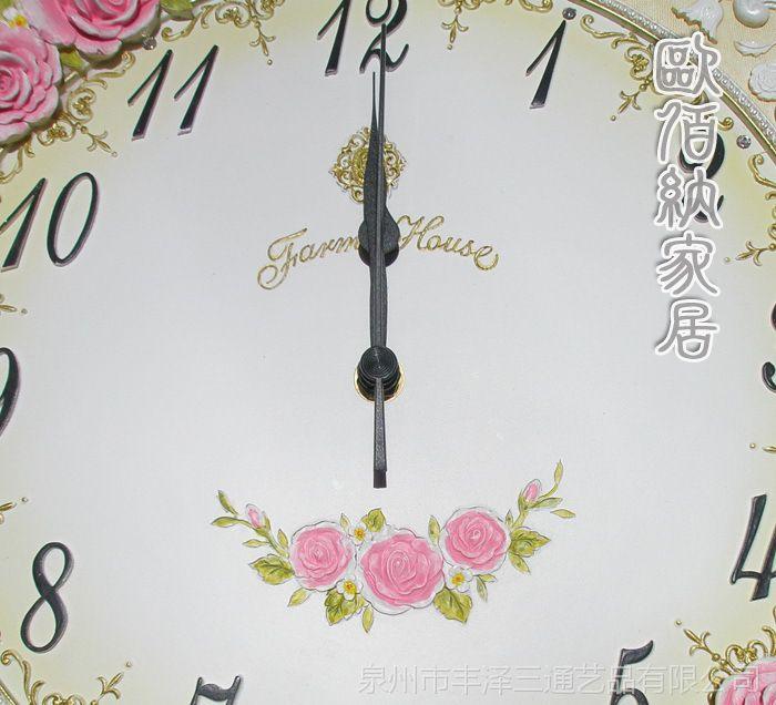 欧式挂钟创意静音田园玫瑰个性钟表客厅卧室大挂钟韩式家居装饰品