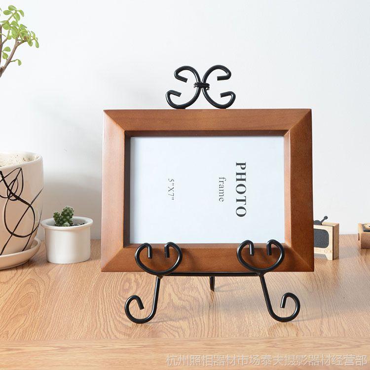 批发热卖 创意铁艺实木画架相框架摆台 7寸儿童影楼简约相框直销