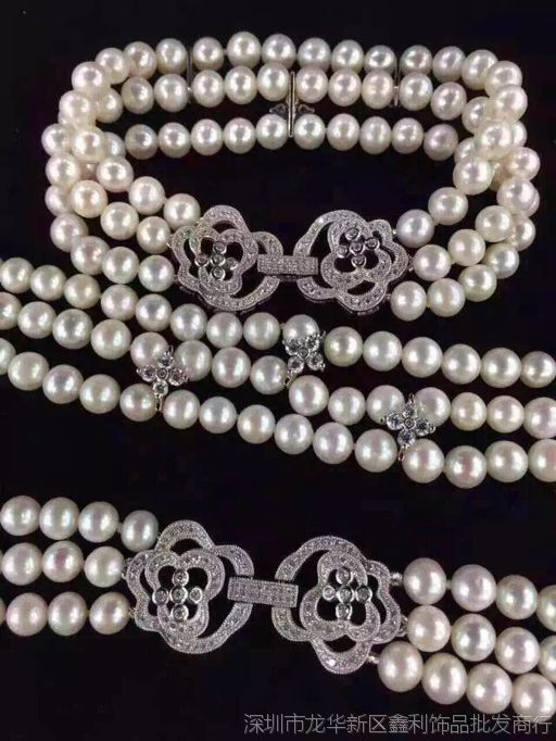 diy珍珠配件  大玫瑰花款项链扣毛衣链多排 单/双排