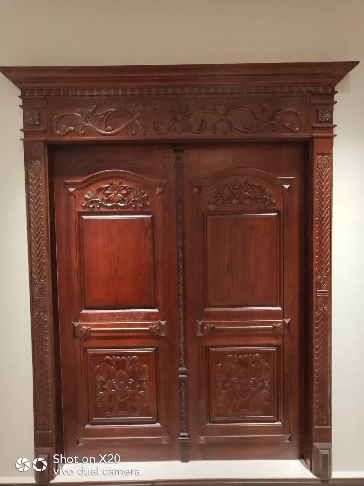 原木门水曲柳原木双开门开放漆大门