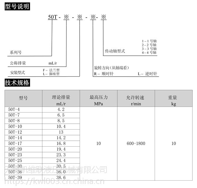 50T-12,50T-14,50T-17,50T-20,定量叶片泵