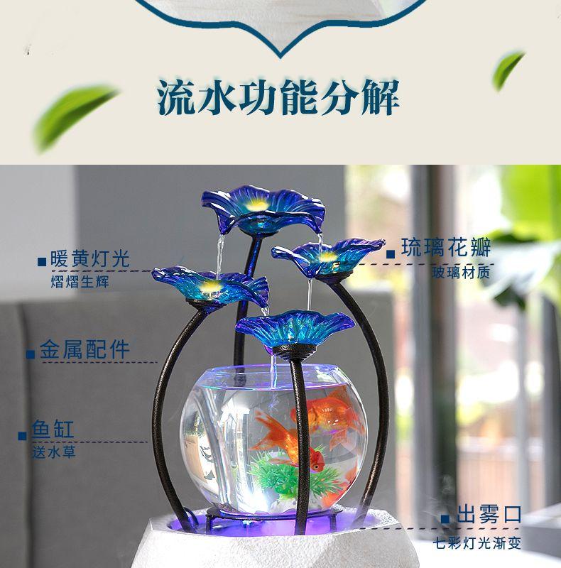 玻璃金鱼缸客厅创意小型流水摆件电视柜办公桌面喷泉开业