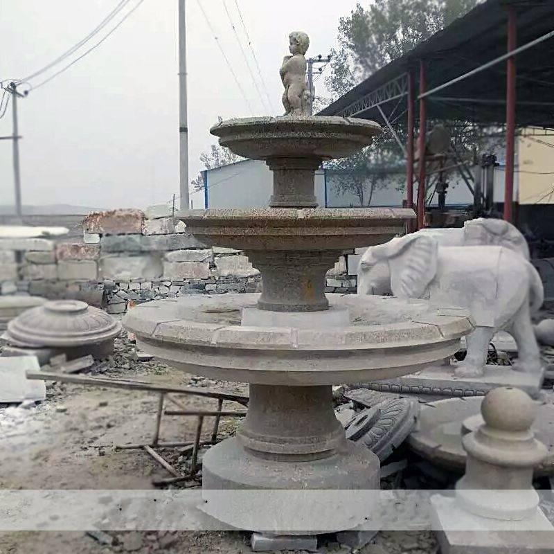石雕喷泉大型户外黄锈石欧式三层流水喷泉大理石水池景观雕塑摆件曲阳万洋雕刻厂家定做