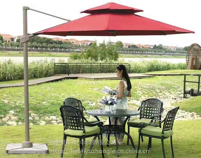 合肥公园广场小区实木沙滩躺椅酒店会所露天休闲桌椅伞编藤铸铝实木塑木