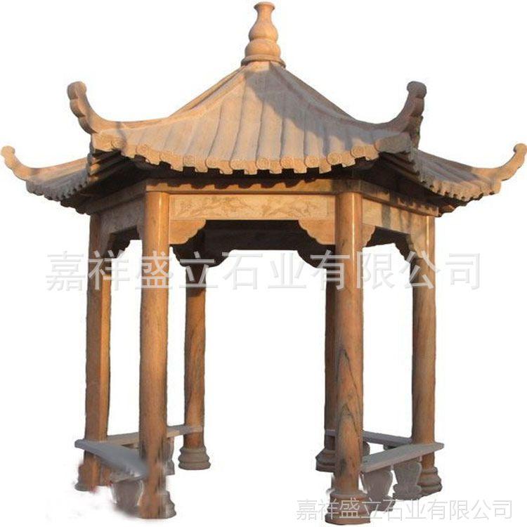 专业石雕厂家直销古建五角石亭子 晚霞红单层双层广场石凉亭