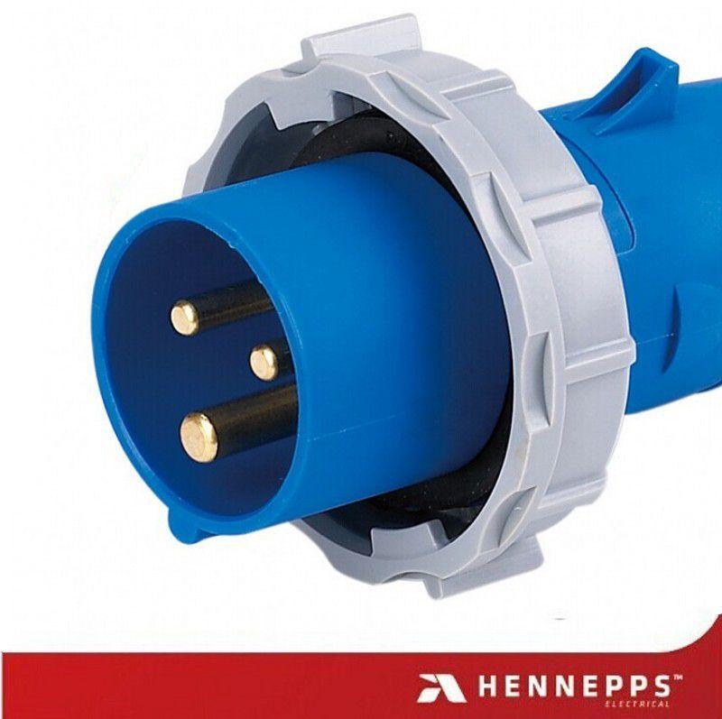 汉奈工业插头 16A/3P/230V/IP67防水等级连接器 HN278防火电源头