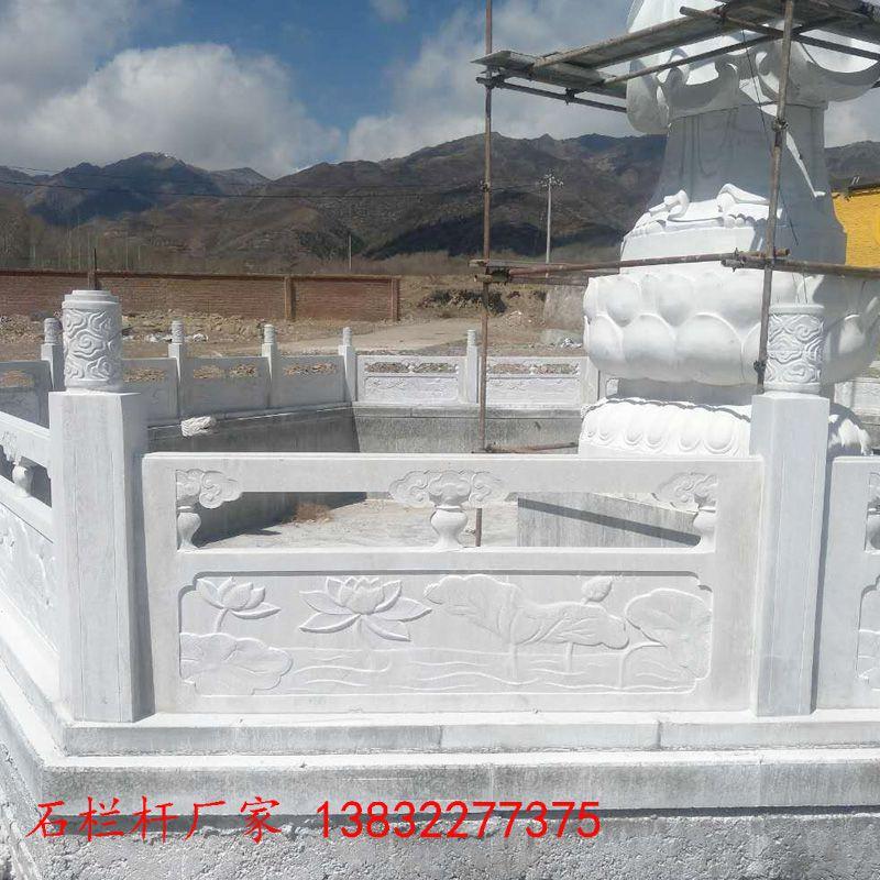 草白玉栏杆安装效果-曲阳县聚隆园林雕塑五台寺庙栏杆安装现场