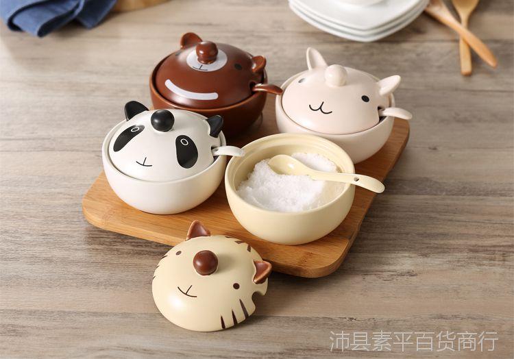 卡通调味罐/瓶/盒套装陶瓷盐罐厨房用品韩国可爱佐料创意动物带盖图片