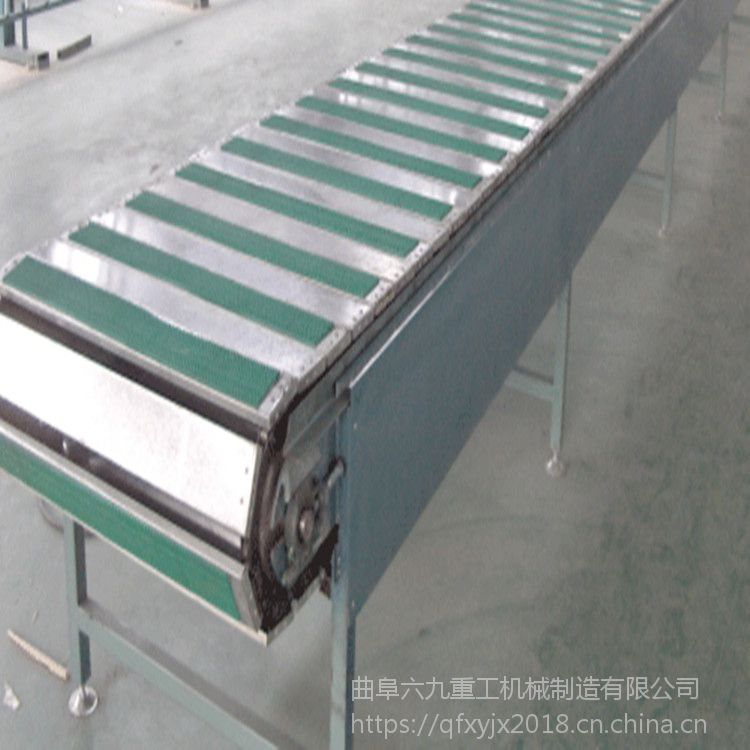大连果饮瓶罐链板输送机 六九批发零售不锈钢板链转弯机