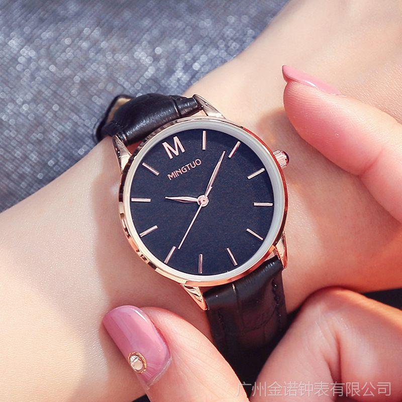 名拓新款时尚潮流情侣手表男女士学生表真皮防水石英表装饰时装表