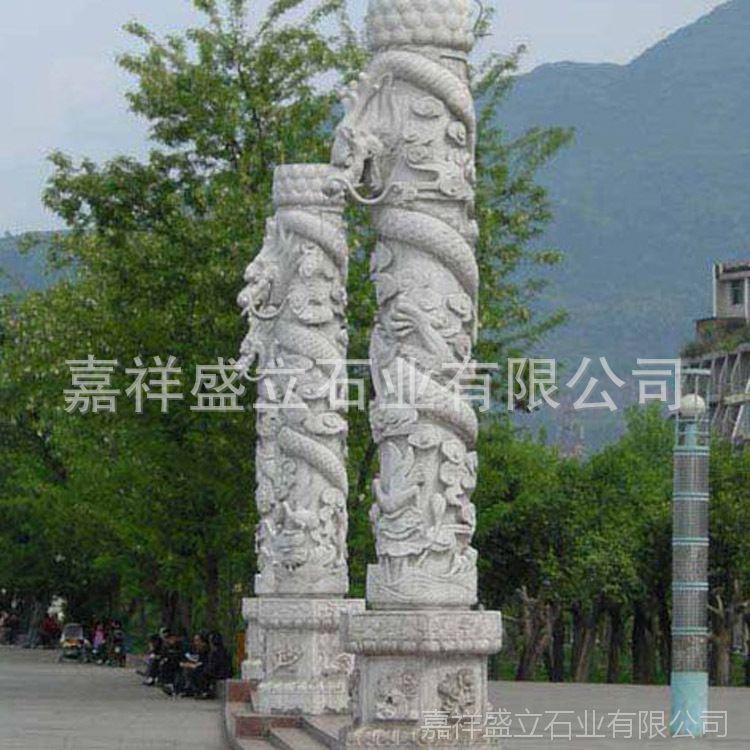 厂家供应大理石传统华表文化柱 石雕十二生肖石头柱子