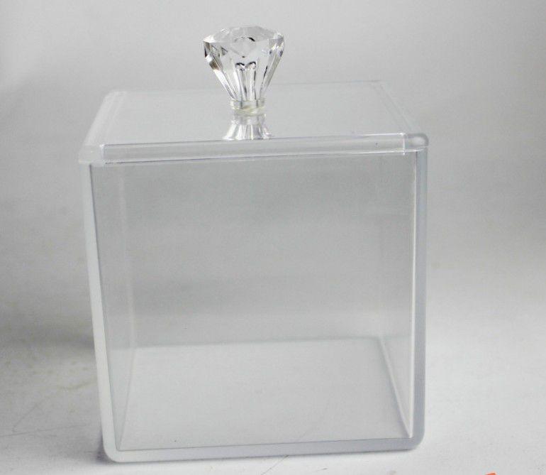 亚克力高透化妆棉收纳盒 有机玻璃正方形收纳盒