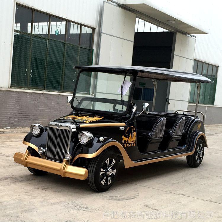 厂家直销AS-008 8人座黑色金边四轮电动观光车电瓶车电动老爷车