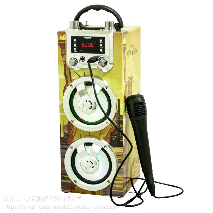 热卖蓝牙无线音箱带麦克风卡拉OK4寸大功率音箱工厂现货