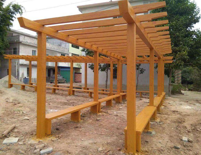 艺高景观指导户外公园混凝土水泥仿木葡萄架安装步骤施工方法