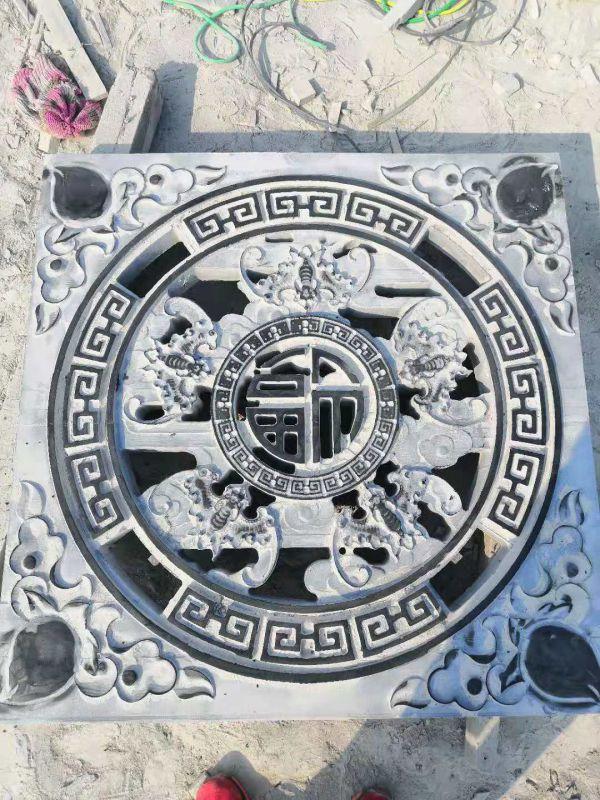 传统石雕镂空花窗厂家 古建筑石窗户 青石浮雕窗花
