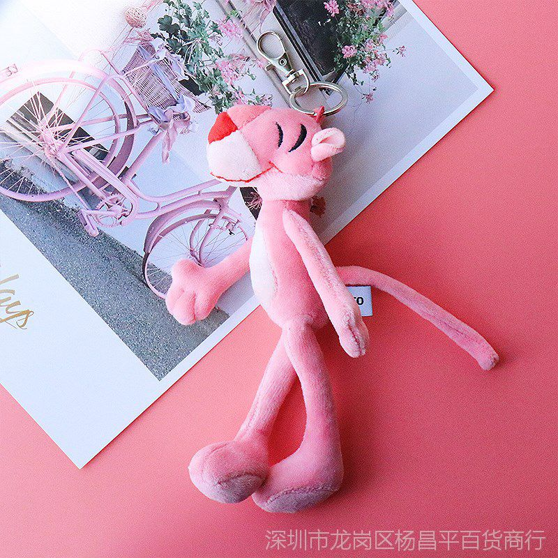 【粉红豹钥匙扣女韩国可爱创意玩偶公仔视频包糖偷吃毛绒图片