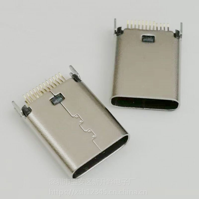 Type-C 24P夹板母座 夹板0.8/1.0 180度直立式 H=10.5 USB 3.1插座