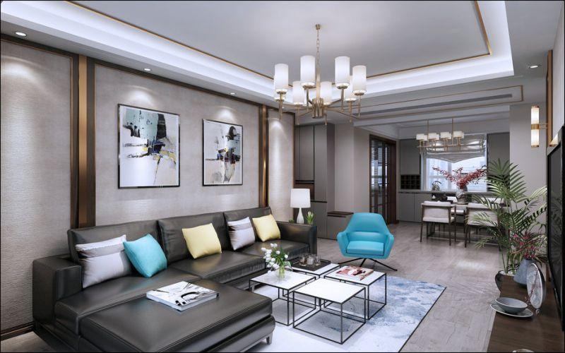 泰安鲁商国际124m²混搭风格装修效果图案例-设计师高新