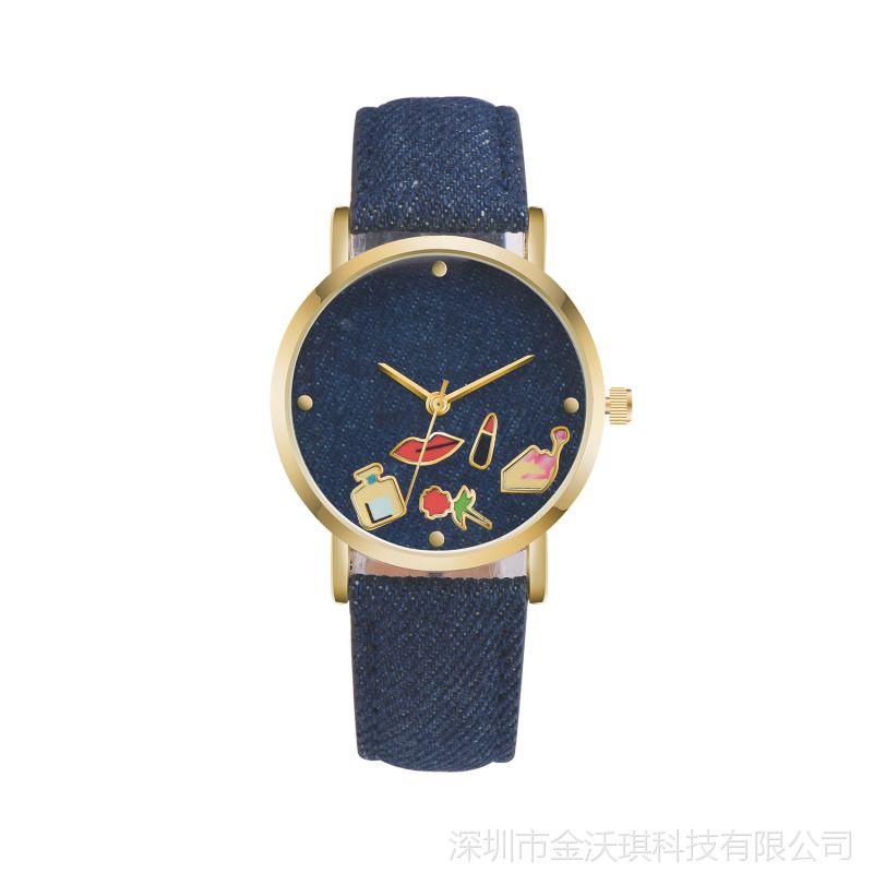 批发 时尚热卖日内瓦手表 GENEVA牛仔布带学生男表女表情侣手表