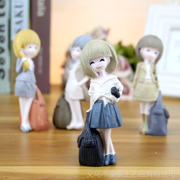 女孩直销创意迷你全身浣纱小号厂家摆件工艺品动漫女生树脂人物图片图片