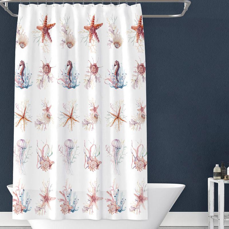 厂家现货供应加厚PEVA印花浴帘布 塑料浴帘涤纶布浴帘