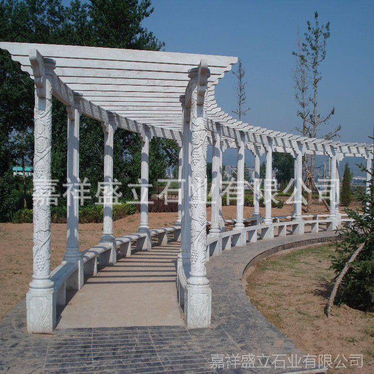 厂家定做景区石雕长廊 花园装饰石头花架 葡萄架安装