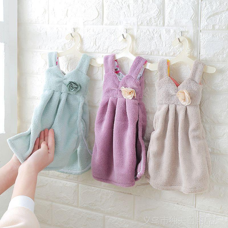 1150可爱连衣裙加厚珊瑚绒擦手巾 吸水挂式厨房毛巾