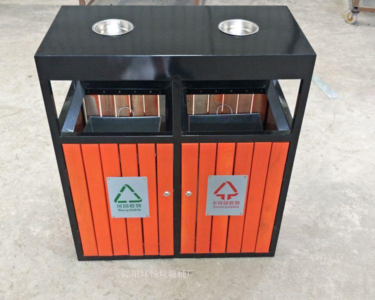 礼县户外创意木质垃圾桶设计 钢木垃圾箱图片大全 厂家生产 全国发货图片