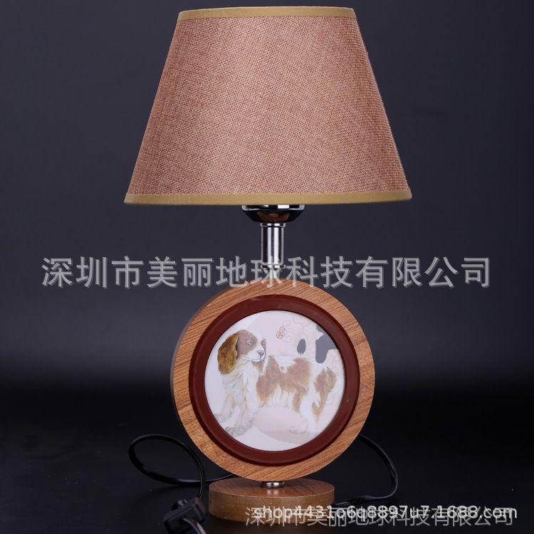 影楼 实木创意护眼台灯双面可放照片儿童小熊木质相框插电台灯