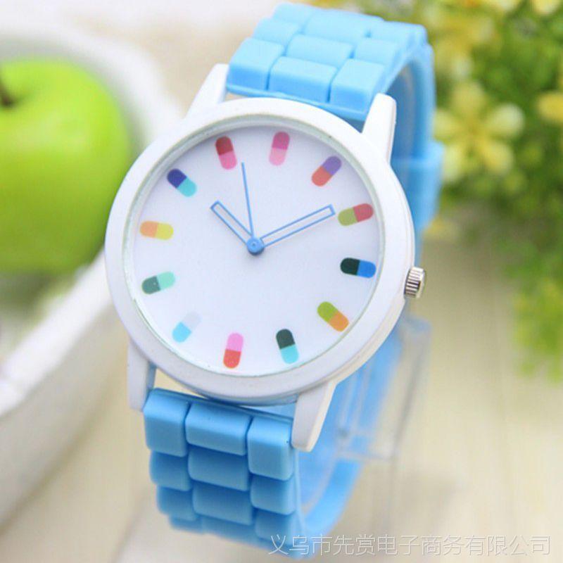 速卖通热卖 硅胶胶囊果冻手表 彩色指针药丸图案石英男女士手表