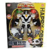 正版灵动创想快乐酷宝 变形机器人 10寸熊猫酷宝 7705 清仓批发