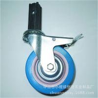 4寸丝杆活动双刹PVC脚轮 承重80公斤 CW151轮子直径100MM