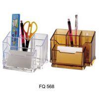 办公学习用品 富强组盒笔筒 多功能笔筒 透明塑料名片盒笔插