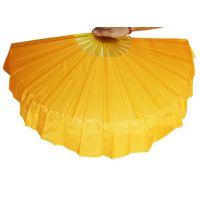 黄色右手加长健身木兰扇 舞蹈扇太极扇秧歌双面绸布对扇子道具