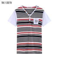 供应【臻川】P515#新款男士V领打底衫粗细条纹男装韩版修身短袖T恤潮