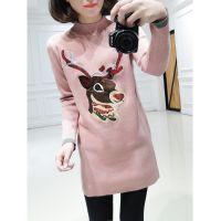 冬装新款韩版小鹿修身显瘦中长款长袖打底衫女针织衫