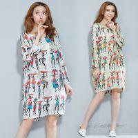2014新款秋装女装韩版宽松印花T恤女中长袖打底衫上衣