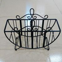 东莞工厂定做花园铁艺 花篮 喷漆喷粉黑色花架