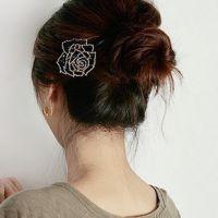 韩版发饰工厂 手工串珠玫瑰花 边夹发夹 可100元混批 小饰品批发